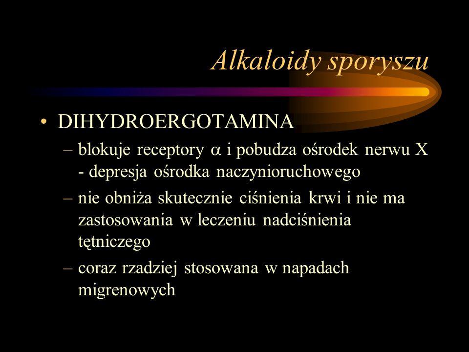Alkaloidy sporyszu DIHYDROERGOTAMINA –blokuje receptory  i pobudza ośrodek nerwu X - depresja ośrodka naczynioruchowego –nie obniża skutecznie ciśnie
