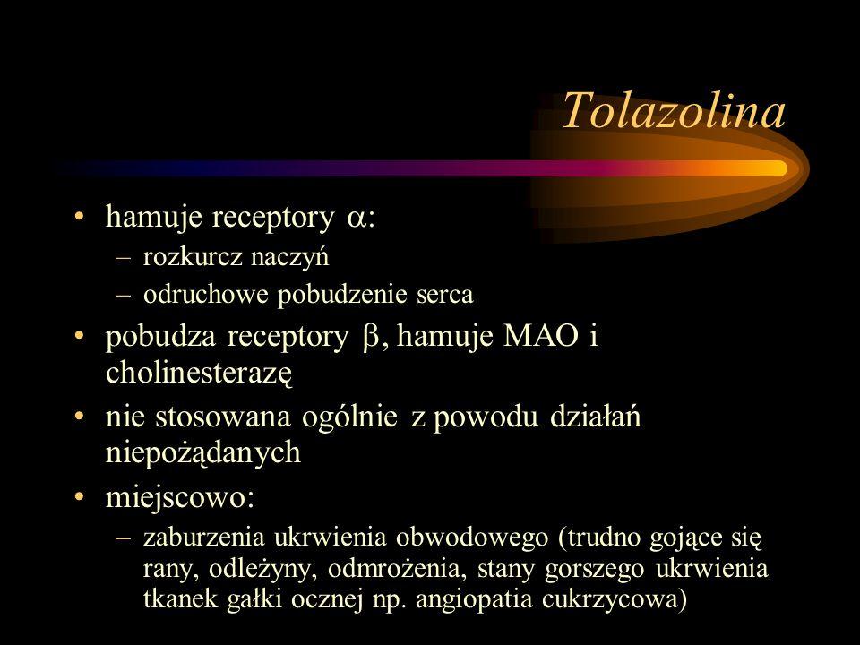 Tolazolina hamuje receptory  : –rozkurcz naczyń –odruchowe pobudzenie serca pobudza receptory , hamuje MAO i cholinesterazę nie stosowana ogólnie z