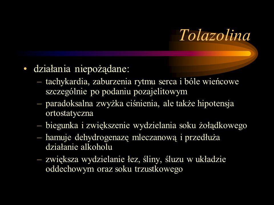 Tolazolina działania niepożądane: –tachykardia, zaburzenia rytmu serca i bóle wieńcowe szczególnie po podaniu pozajelitowym –paradoksalna zwyżka ciśni