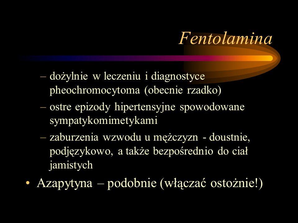 Fentolamina –dożylnie w leczeniu i diagnostyce pheochromocytoma (obecnie rzadko) –ostre epizody hipertensyjne spowodowane sympatykomimetykami –zaburze