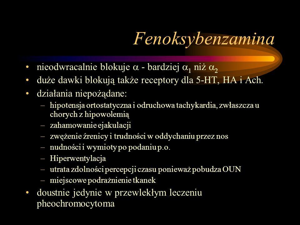 Fenoksybenzamina nieodwracalnie blokuje  - bardziej  1 niż  2 duże dawki blokują także receptory dla 5-HT, HA i Ach. działania niepożądane: –hipote