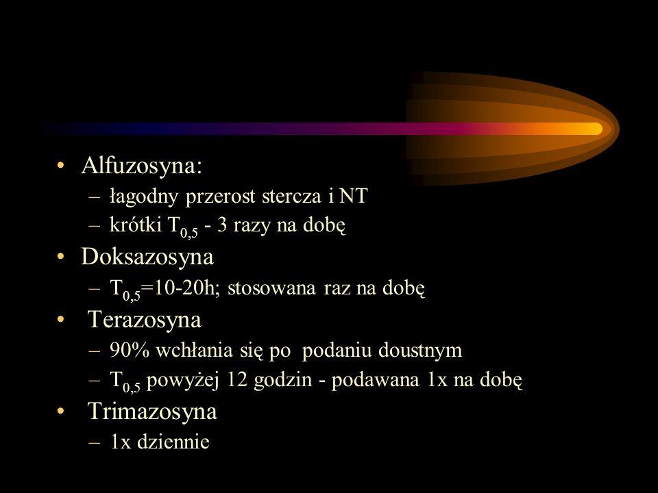 Alfuzosyna: –łagodny przerost stercza i NT –krótki T 0,5 - 3 razy na dobę Doksazosyna –T 0,5 =10-20h; stosowana raz na dobę Terazosyna –90% wchłania s