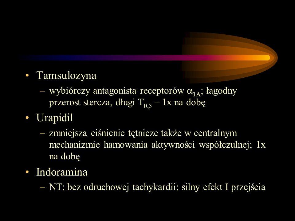 Tamsulozyna –wybiórczy antagonista receptorów  1A ; łagodny przerost stercza, długi T 0,5 – 1x na dobę Urapidil –zmniejsza ciśnienie tętnicze także w
