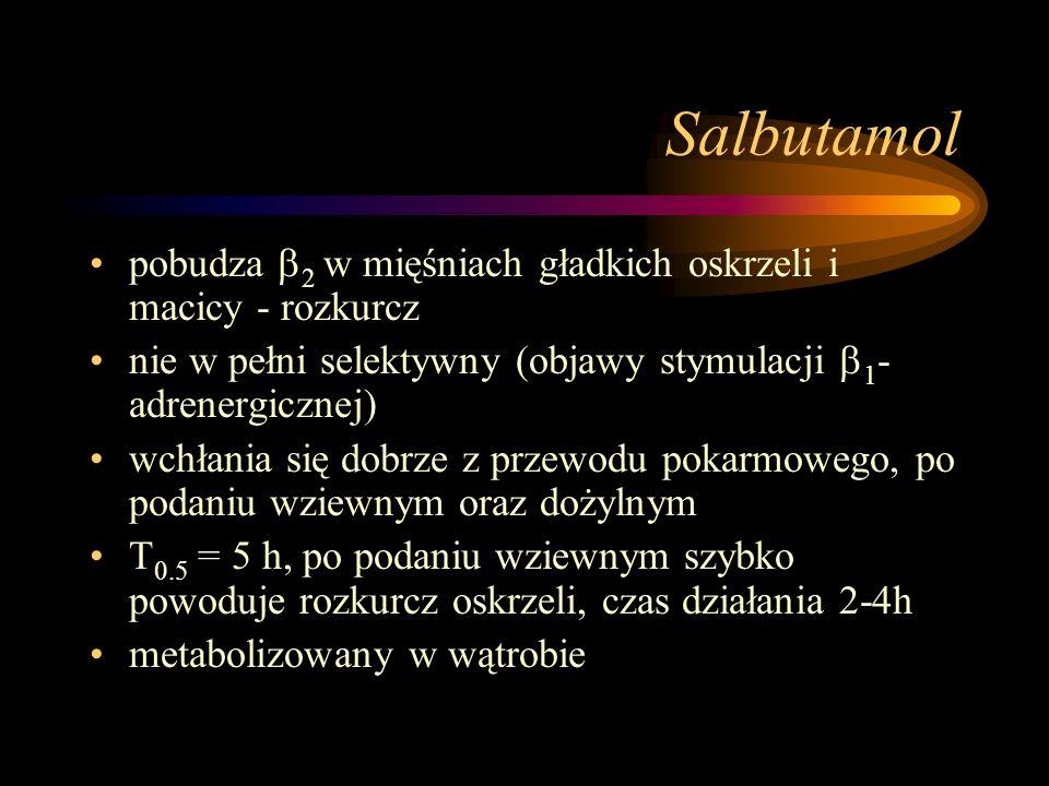Salbutamol pobudza  2 w mięśniach gładkich oskrzeli i macicy - rozkurcz nie w pełni selektywny (objawy stymulacji  1 - adrenergicznej) wchłania się
