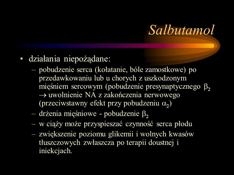 Salbutamol działania niepożądane: –pobudzenie serca (kołatanie, bóle zamostkowe) po przedawkowaniu lub u chorych z uszkodzonym mięśniem sercowym (pobu