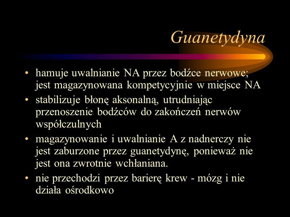 Guanetydyna hamuje uwalnianie NA przez bodźce nerwowe; jest magazynowana kompetycyjnie w miejsce NA stabilizuje błonę aksonalną, utrudniając przenosze