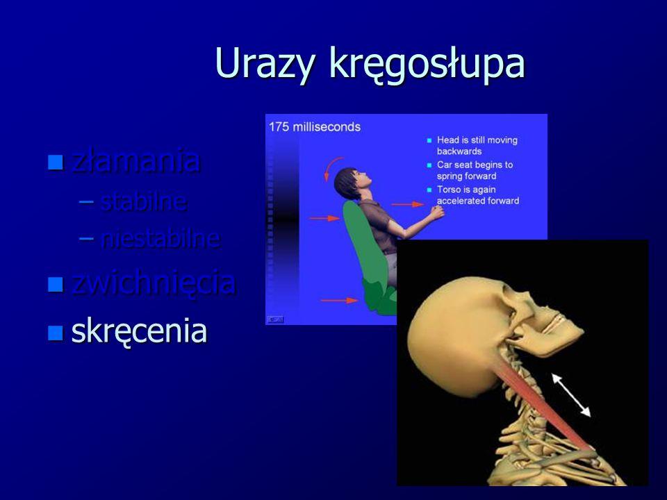 Urazy kręgosłupa n złamania –stabilne –niestabilne n zwichnięcia n skręcenia