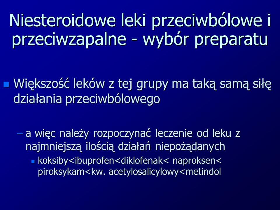 Niesteroidowe leki przeciwbólowe i przeciwzapalne - wybór preparatu n Większość leków z tej grupy ma taką samą siłę działania przeciwbólowego –a więc należy rozpoczynać leczenie od leku z najmniejszą ilością działań niepożądanych n koksiby<ibuprofen<diklofenak< naproksen< piroksykam<kw.
