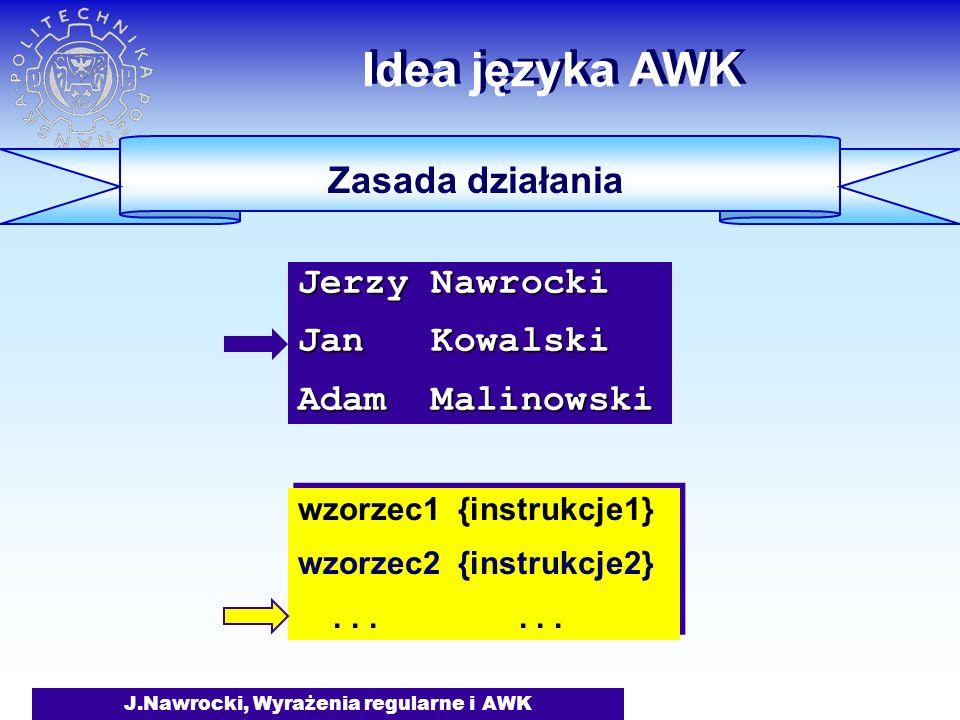 J.Nawrocki, Wyrażenia regularne i AWK Idea języka AWK Zasada działania wzorzec1 {instrukcje1} wzorzec2 {instrukcje2}......