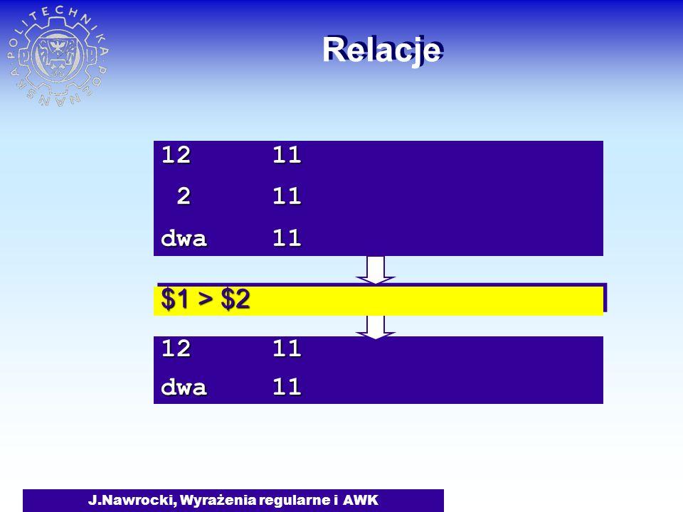 J.Nawrocki, Wyrażenia regularne i AWK 12 11 dwa 11 Relacje $1 > $2 12 11 2 11 2 11 dwa 11
