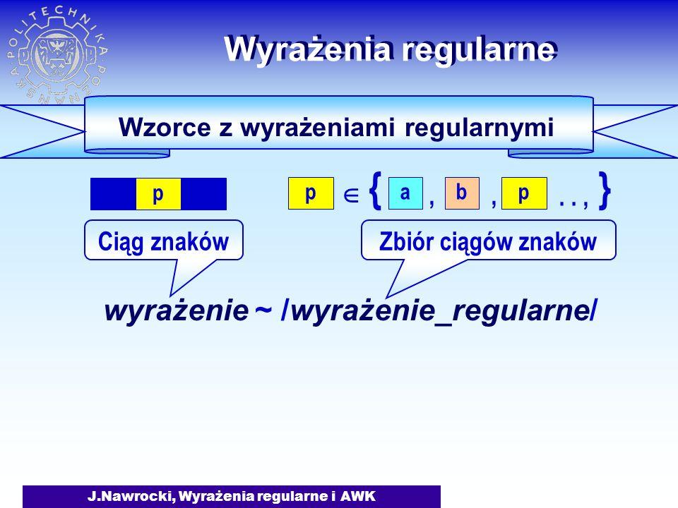 J.Nawrocki, Wyrażenia regularne i AWK Wyrażenia regularne wyrażenie ~ /wyrażenie_regularne/ Ciąg znakówZbiór ciągów znaków Wzorce z wyrażeniami regularnymi p {} p,.., a, b p 