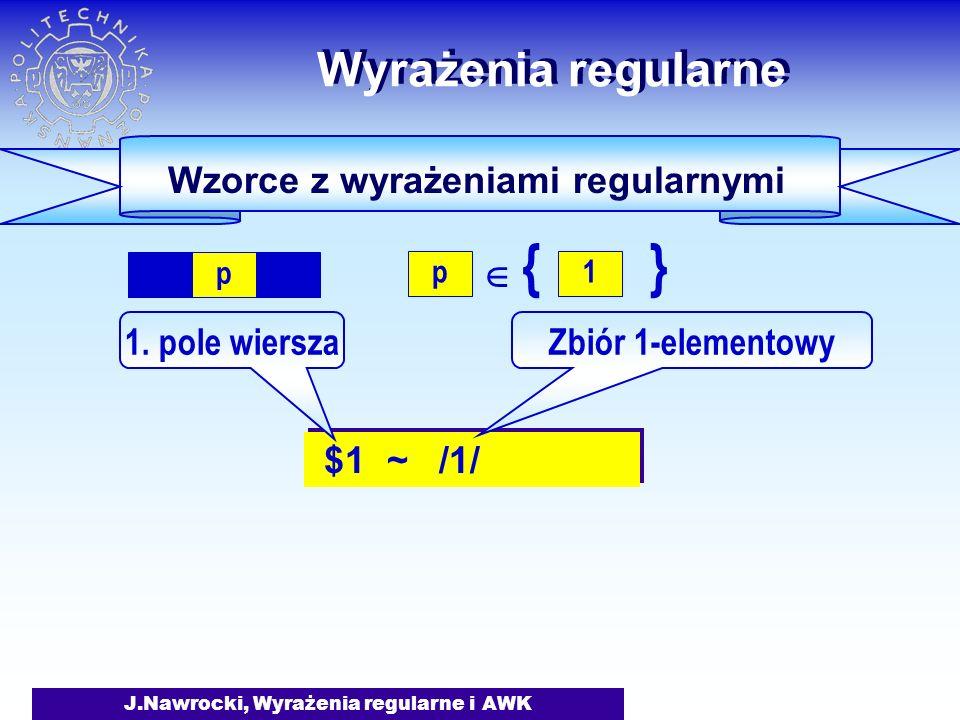 J.Nawrocki, Wyrażenia regularne i AWK $1 ~ /1/ Wyrażenia regularne 1.