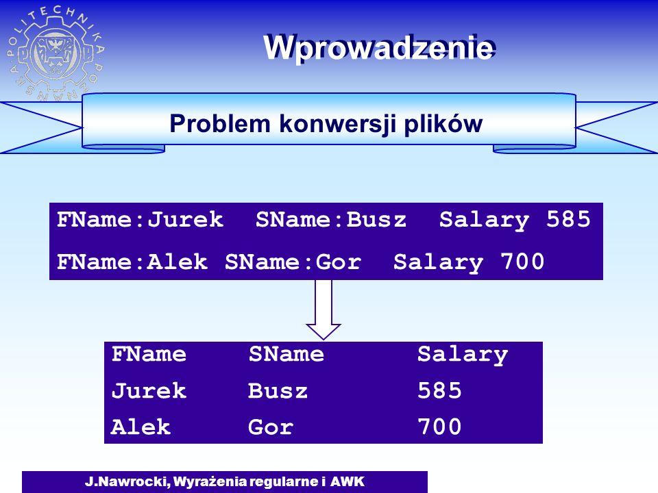 J.Nawrocki, Wyrażenia regularne i AWK Wprowadzenie Problem konwersji plików #include FILE *fin; char token[200]; char gettoken(void) {int i=0; char c; do {c = getc(fin); if (c == EOF) return (EOF); } while (c < '!'); #include FILE *fin; char token[200]; char gettoken(void) {int i=0; char c; do {c = getc(fin); if (c == EOF) return (EOF); } while (c < '!'); Rozwiązanie w C:  40 linii kodu