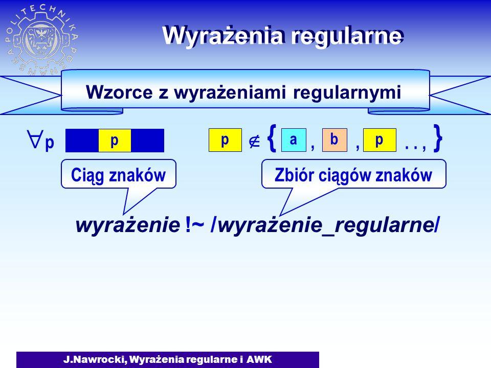 J.Nawrocki, Wyrażenia regularne i AWK Wyrażenia regularne wyrażenie !~ /wyrażenie_regularne/ Wzorce z wyrażeniami regularnymi Ciąg znakówZbiór ciągów znaków p {} p,.., a, b p  pp