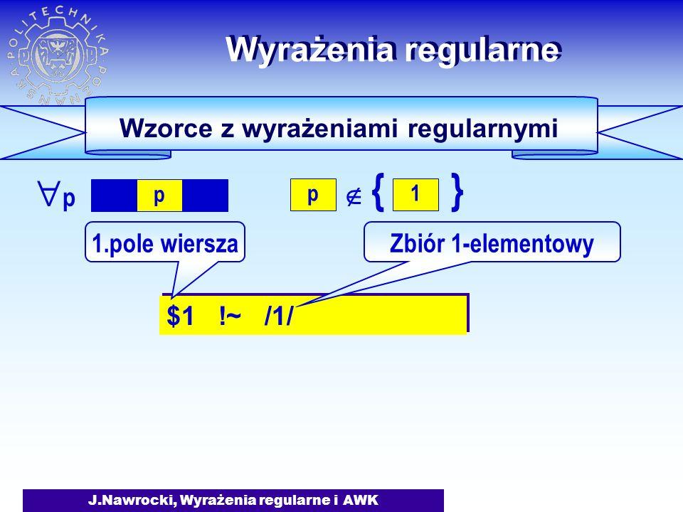 J.Nawrocki, Wyrażenia regularne i AWK Wyrażenia regularne Wzorce z wyrażeniami regularnymi $1 !~ /1/ 1.pole wierszaZbiór 1-elementowy p {} 1 p  pp