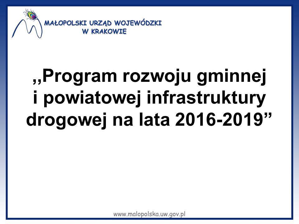 """,,Program rozwoju gminnej i powiatowej infrastruktury drogowej na lata 2016-2019"""""""