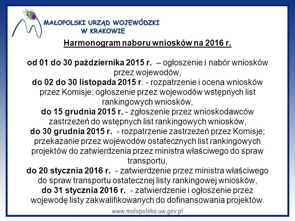 Harmonogram naboru wniosków na 2016 r. od 01 do 30 października 2015 r. – ogłoszenie i nabór wniosków przez wojewodów, do 02 do 30 listopada 2015 r. -