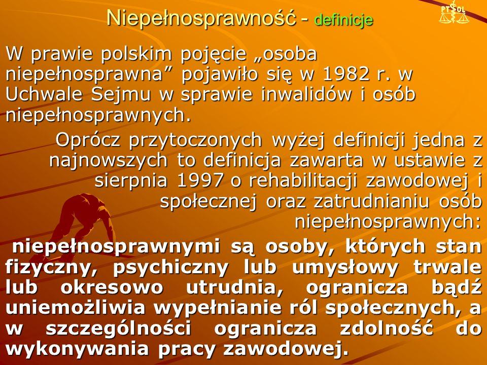 """Niepełnosprawność - definicje W prawie polskim pojęcie """"osoba niepełnosprawna"""" pojawiło się w 1982 r. w Uchwale Sejmu w sprawie inwalidów i osób niepe"""