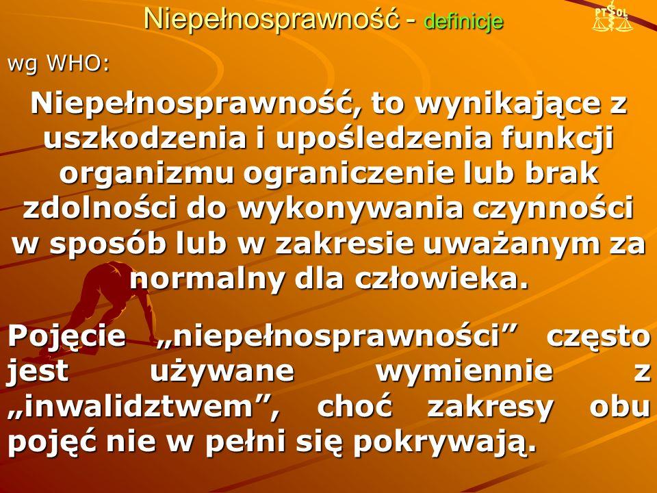 """Niepełnosprawność - definicje W prawie polskim pojęcie """"osoba niepełnosprawna pojawiło się w 1982 r."""