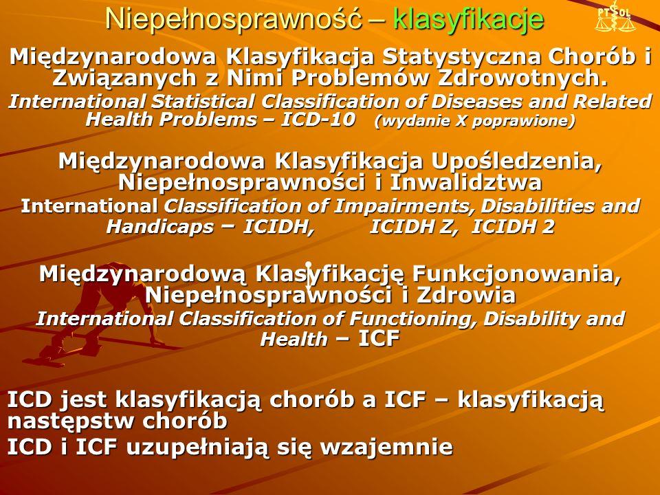 Niepełnosprawność – klasyfikacje Międzynarodowa Klasyfikacja Statystyczna Chorób i Związanych z Nimi Problemów Zdrowotnych.