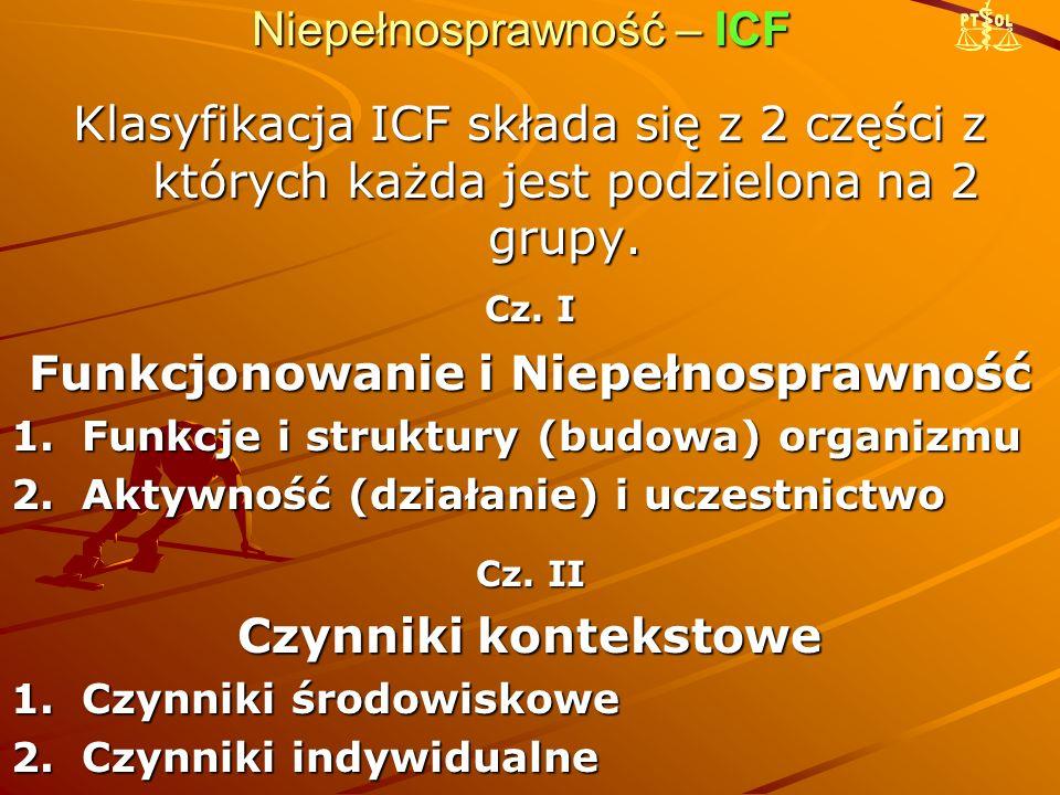 Niepełnosprawność – ICF Klasyfikacja ICF składa się z 2 części z których każda jest podzielona na 2 grupy. Cz. I Funkcjonowanie i Niepełnosprawność 1.