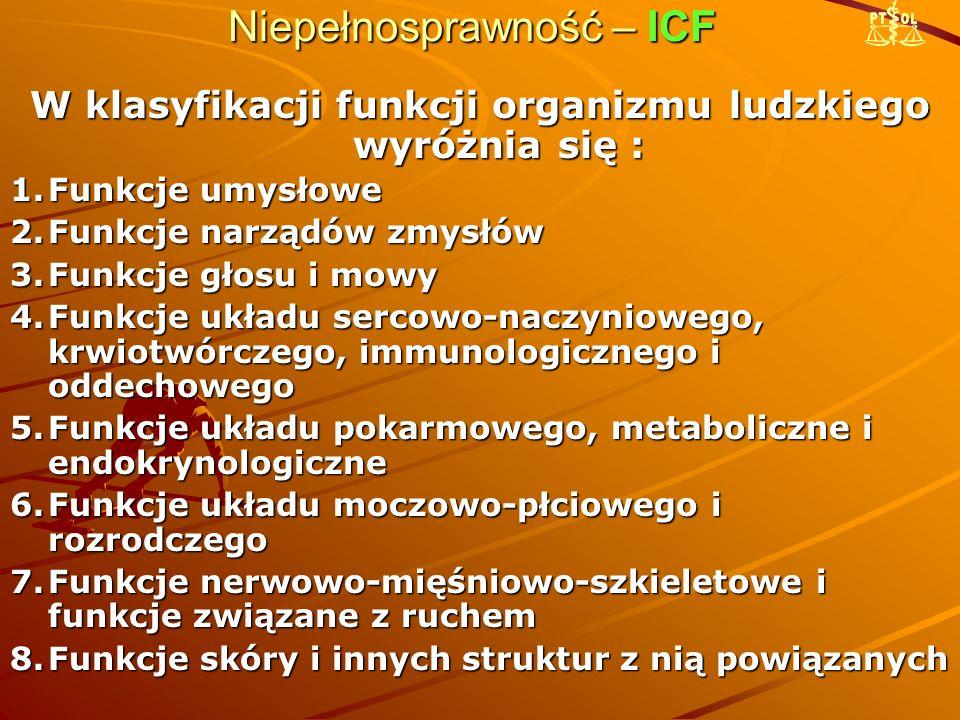 Niepełnosprawność – ICF W klasyfikacji funkcji organizmu ludzkiego wyróżnia się : 1.Funkcje umysłowe 2.Funkcje narządów zmysłów 3.Funkcje głosu i mowy 4.Funkcje układu sercowo-naczyniowego, krwiotwórczego, immunologicznego i oddechowego 5.Funkcje układu pokarmowego, metaboliczne i endokrynologiczne 6.Funkcje układu moczowo-płciowego i rozrodczego 7.Funkcje nerwowo-mięśniowo-szkieletowe i funkcje związane z ruchem 8.Funkcje skóry i innych struktur z nią powiązanych