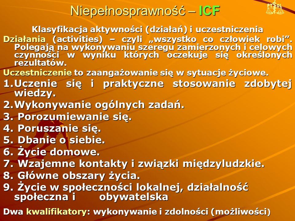 """Niepełnosprawność – ICF Klasyfikacja aktywności (działań) i uczestniczenia Działania (activities) – czyli """"wszystko co człowiek robi"""". Polegają na wyk"""
