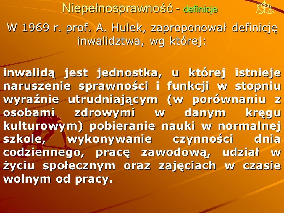 Niepełnosprawność - definicje W 1969 r.prof. A.