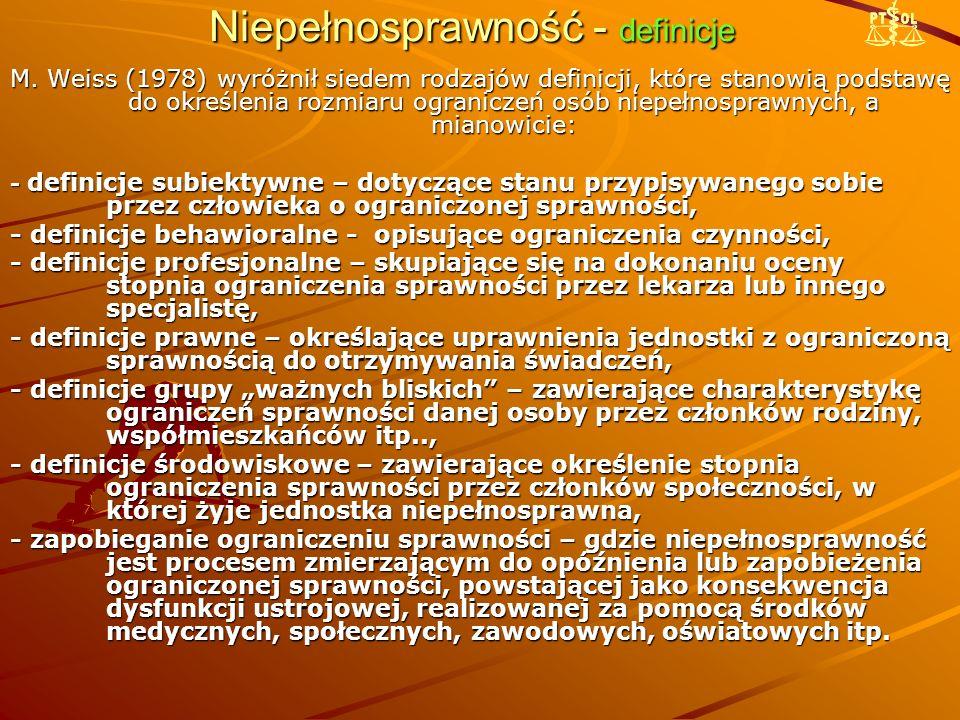 Niepełnosprawność – ICF W klasyfikacji struktur organizmu wyróżnia się : 1.Struktury układu nerwowego 2.Oko, ucho i struktury powiązane 3.Struktury związane z głosem i mową 4.Struktury układu sercowo-naczyniowego, odpornościowego i oddechowego 5.Struktury związane z układem pokarmowym, metabolizmem i układem hormonalnym 6.Struktury układu moczowo-płciowego i rozrodczego 7.Struktury powiązane z ruchem 8.Skóra i struktury z nią powiązane