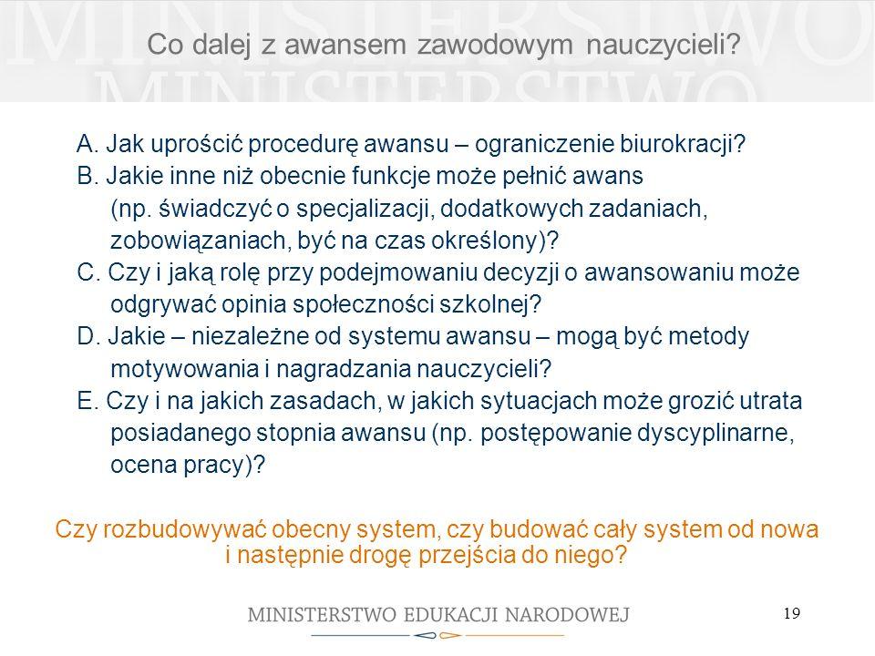 19 A. Jak uprościć procedurę awansu – ograniczenie biurokracji.