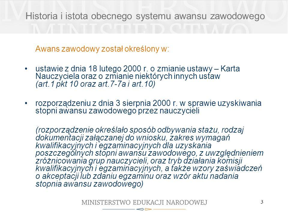 3 Awans zawodowy został określony w: ustawie z dnia 18 lutego 2000 r. o zmianie ustawy – Karta Nauczyciela oraz o zmianie niektórych innych ustaw (art