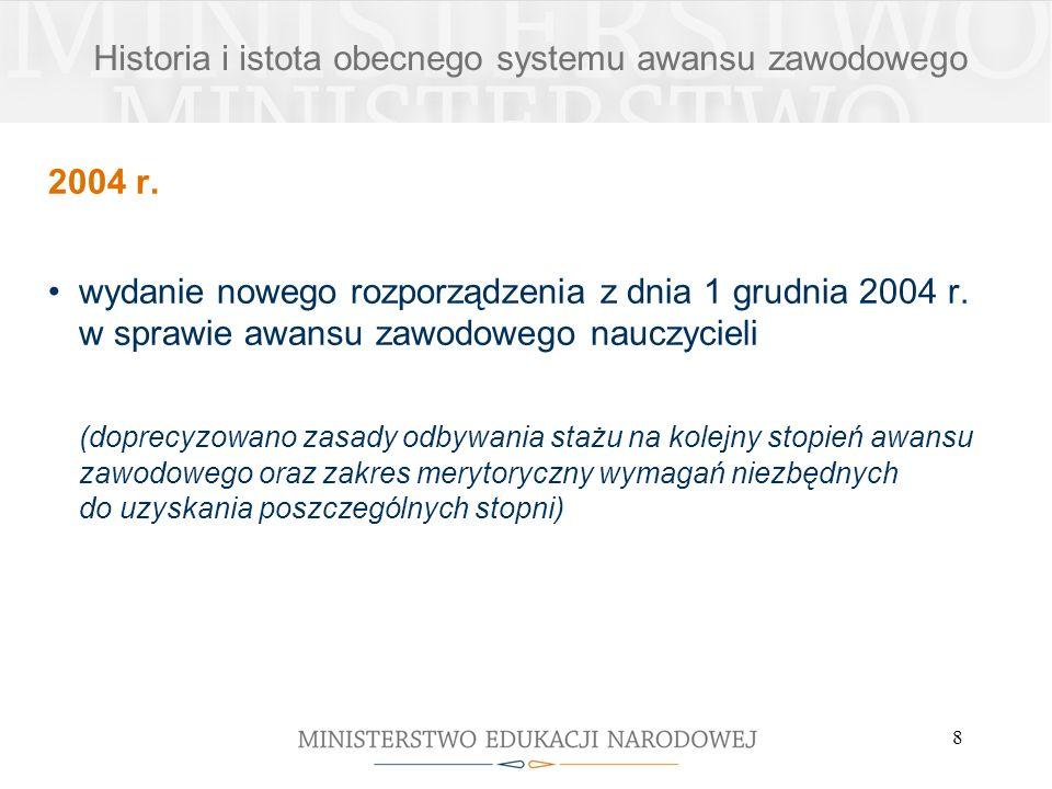 8 2004 r. wydanie nowego rozporządzenia z dnia 1 grudnia 2004 r. w sprawie awansu zawodowego nauczycieli (doprecyzowano zasady odbywania stażu na kole