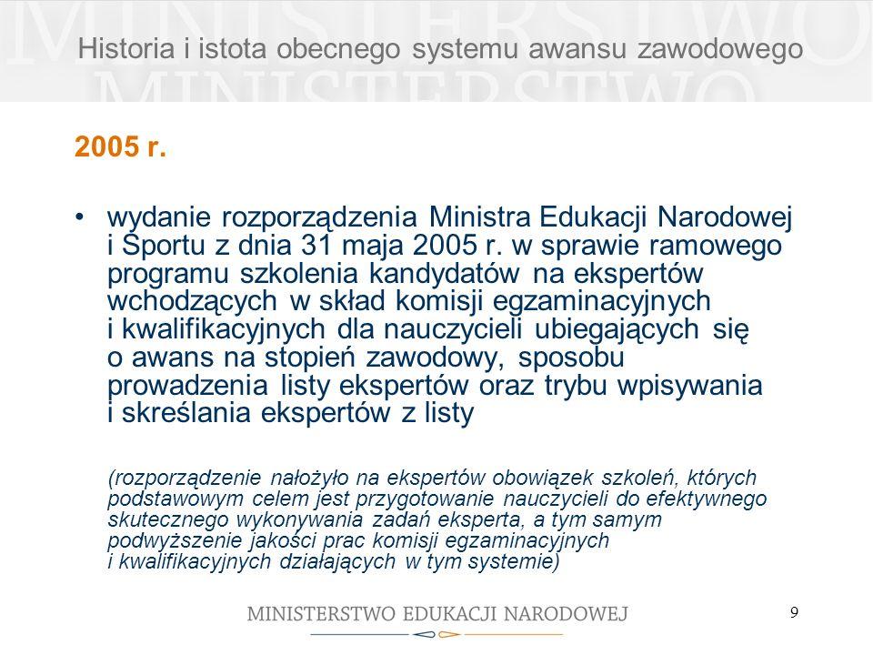 9 2005 r. wydanie rozporządzenia Ministra Edukacji Narodowej i Sportu z dnia 31 maja 2005 r. w sprawie ramowego programu szkolenia kandydatów na ekspe