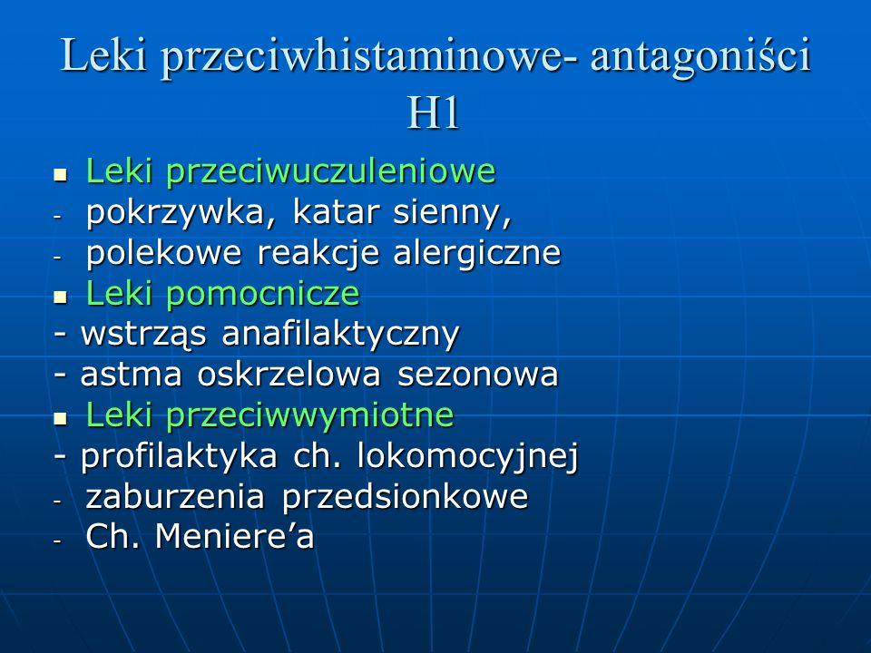 Leki przeciwhistaminowe- antagoniści H1 Leki przeciwuczuleniowe Leki przeciwuczuleniowe - pokrzywka, katar sienny, - polekowe reakcje alergiczne Leki pomocnicze Leki pomocnicze - wstrząs anafilaktyczny - astma oskrzelowa sezonowa Leki przeciwwymiotne Leki przeciwwymiotne - profilaktyka ch.