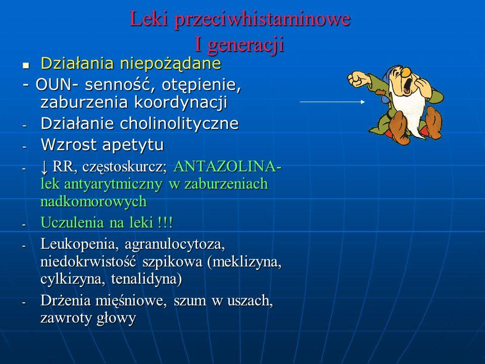 Leki przeciwhistaminowe I generacji Działania niepożądane Działania niepożądane - OUN- senność, otępienie, zaburzenia koordynacji - Działanie cholinolityczne - Wzrost apetytu - ↓ RR, częstoskurcz; ANTAZOLINA- lek antyarytmiczny w zaburzeniach nadkomorowych - Uczulenia na leki !!.