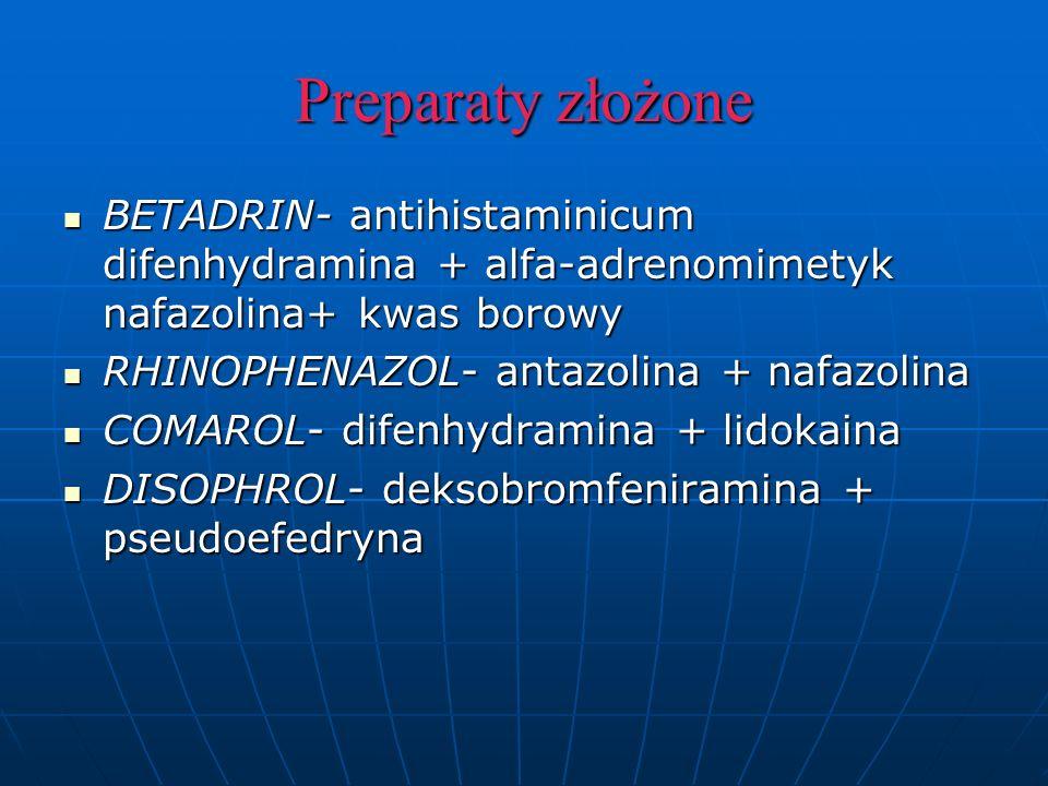 Preparaty złożone BETADRIN- antihistaminicum difenhydramina + alfa-adrenomimetyk nafazolina+ kwas borowy BETADRIN- antihistaminicum difenhydramina + alfa-adrenomimetyk nafazolina+ kwas borowy RHINOPHENAZOL- antazolina + nafazolina RHINOPHENAZOL- antazolina + nafazolina COMAROL- difenhydramina + lidokaina COMAROL- difenhydramina + lidokaina DISOPHROL- deksobromfeniramina + pseudoefedryna DISOPHROL- deksobromfeniramina + pseudoefedryna