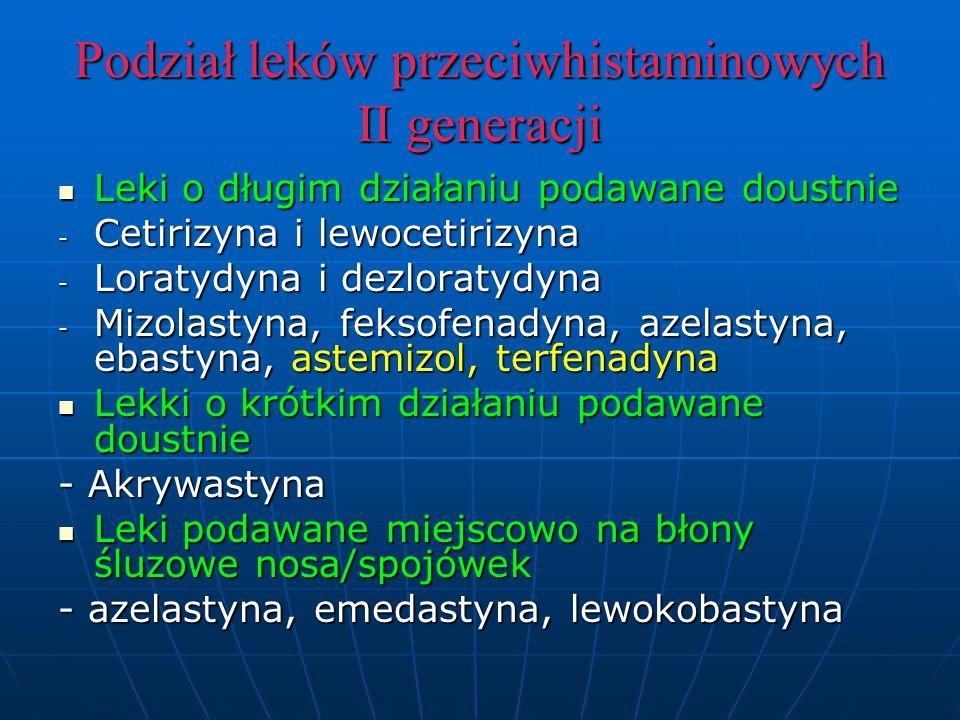 Podział leków przeciwhistaminowych II generacji Leki o długim działaniu podawane doustnie Leki o długim działaniu podawane doustnie - Cetirizyna i lewocetirizyna - Loratydyna i dezloratydyna - Mizolastyna, feksofenadyna, azelastyna, ebastyna, astemizol, terfenadyna Lekki o krótkim działaniu podawane doustnie Lekki o krótkim działaniu podawane doustnie - Akrywastyna Leki podawane miejscowo na błony śluzowe nosa/spojówek Leki podawane miejscowo na błony śluzowe nosa/spojówek - azelastyna, emedastyna, lewokobastyna