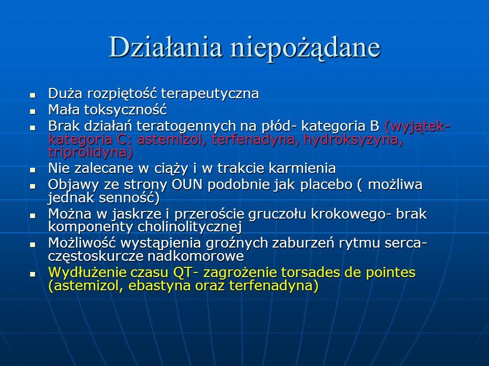 Działania niepożądane Duża rozpiętość terapeutyczna Duża rozpiętość terapeutyczna Mała toksyczność Mała toksyczność Brak działań teratogennych na płód- kategoria B (wyjątek- kategoria C: astemizol, terfenadyna, hydroksyzyna, triprolidyna) Brak działań teratogennych na płód- kategoria B (wyjątek- kategoria C: astemizol, terfenadyna, hydroksyzyna, triprolidyna) Nie zalecane w ciąży i w trakcie karmienia Nie zalecane w ciąży i w trakcie karmienia Objawy ze strony OUN podobnie jak placebo ( możliwa jednak senność) Objawy ze strony OUN podobnie jak placebo ( możliwa jednak senność) Można w jaskrze i przeroście gruczołu krokowego- brak komponenty cholinolitycznej Można w jaskrze i przeroście gruczołu krokowego- brak komponenty cholinolitycznej Możliwość wystąpienia groźnych zaburzeń rytmu serca- częstoskurcze nadkomorowe Możliwość wystąpienia groźnych zaburzeń rytmu serca- częstoskurcze nadkomorowe Wydłużenie czasu QT- zagrożenie torsades de pointes (astemizol, ebastyna oraz terfenadyna) Wydłużenie czasu QT- zagrożenie torsades de pointes (astemizol, ebastyna oraz terfenadyna)