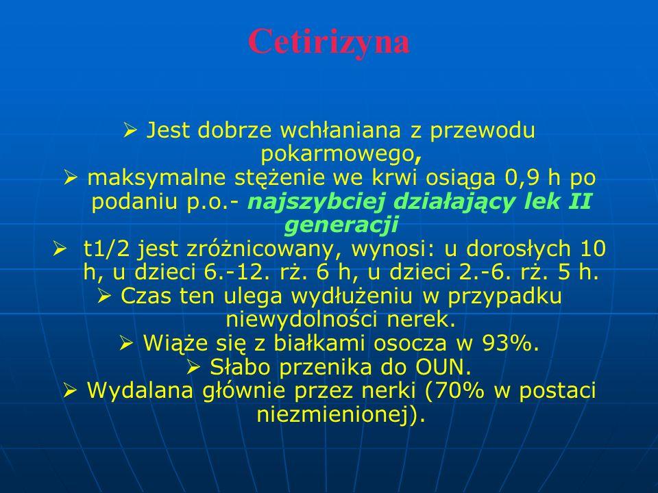 Cetirizyna   Jest dobrze wchłaniana z przewodu pokarmowego,   maksymalne stężenie we krwi osiąga 0,9 h po podaniu p.o.- najszybciej działający lek II generacji   t1/2 jest zróżnicowany, wynosi: u dorosłych 10 h, u dzieci 6.-12.