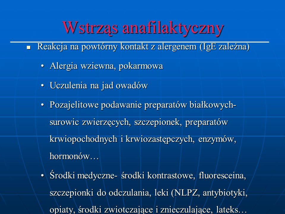Reakcja na powtórny kontakt z alergenem (IgE zależna) Reakcja na powtórny kontakt z alergenem (IgE zależna) Alergia wziewna, pokarmowaAlergia wziewna, pokarmowa Uczulenia na jad owadówUczulenia na jad owadów Pozajelitowe podawanie preparatów białkowych- surowic zwierzęcych, szczepionek, preparatów krwiopochodnych i krwiozastępczych, enzymów, hormonów…Pozajelitowe podawanie preparatów białkowych- surowic zwierzęcych, szczepionek, preparatów krwiopochodnych i krwiozastępczych, enzymów, hormonów… Środki medyczne- środki kontrastowe, fluoresceina, szczepionki do odczulania, leki (NLPZ, antybiotyki, opiaty, środki zwiotczające i znieczulające, lateks…Środki medyczne- środki kontrastowe, fluoresceina, szczepionki do odczulania, leki (NLPZ, antybiotyki, opiaty, środki zwiotczające i znieczulające, lateks…