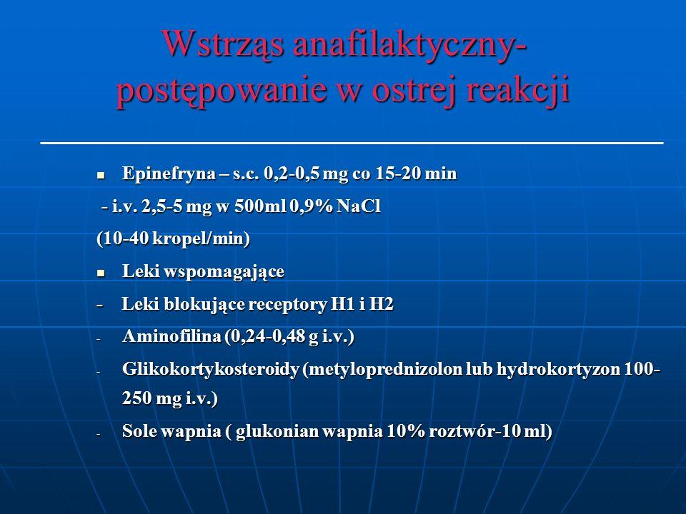 Wstrząs anafilaktyczny- postępowanie w ostrej reakcji Epinefryna – s.c.