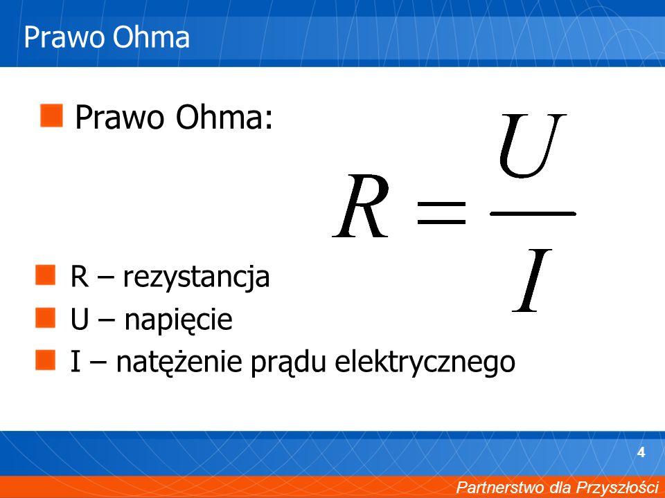 Partnerstwo dla Przyszłości 4 Prawo Ohma Prawo Ohma: R – rezystancja U – napięcie I – natężenie prądu elektrycznego