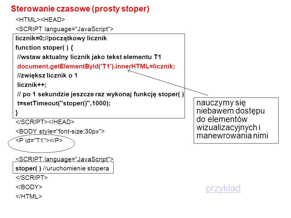 Sterowanie czasowe (prosty stoper) licznik=0;//początkowy licznik function stoper( ) { //wstaw aktualny licznik jako tekst elementu T1 document.getElementById( T1 ).innerHTML=licznik; //zwiększ licznik o 1 licznik++; // po 1 sekundzie jeszcze raz wykonaj funkcję stoper( ) t=setTimeout( stoper() ,1000); } stoper( ) //uruchomienie stopera nauczymy się niebawem dostępu do elementów wizualizacyjnych i manewrowania nimi przykład