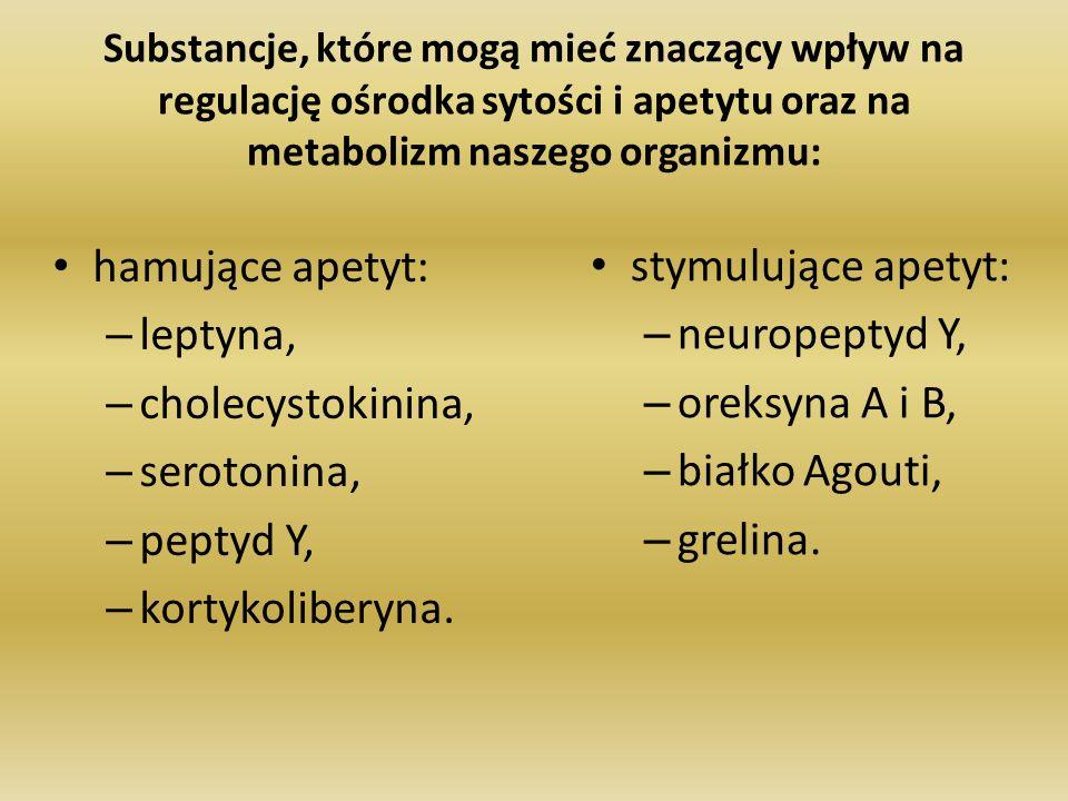 Substancje, które mogą mieć znaczący wpływ na regulację ośrodka sytości i apetytu oraz na metabolizm naszego organizmu: hamujące apetyt: – leptyna, –