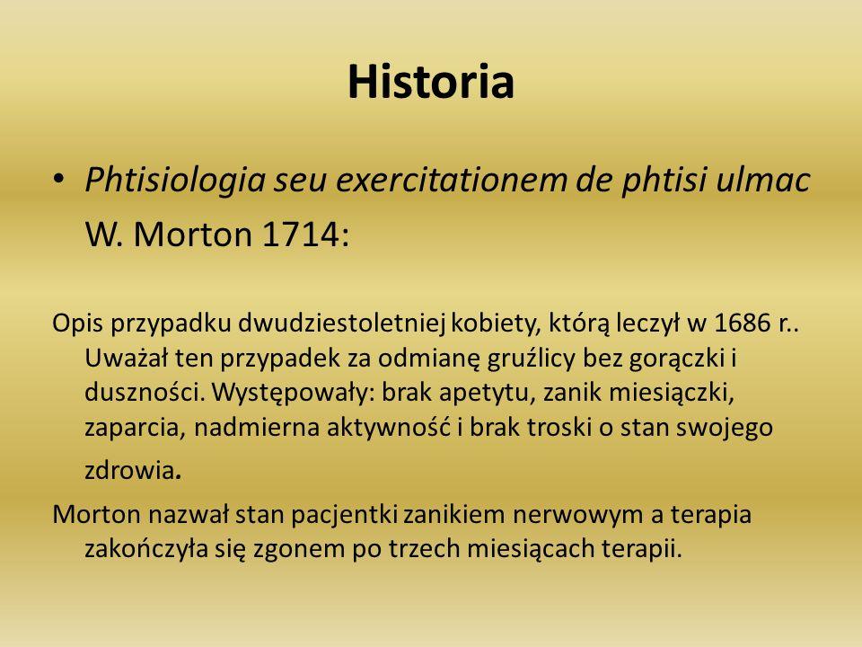 Historia Phtisiologia seu exercitationem de phtisi ulmac W. Morton 1714: Opis przypadku dwudziestoletniej kobiety, którą leczył w 1686 r.. Uważał ten