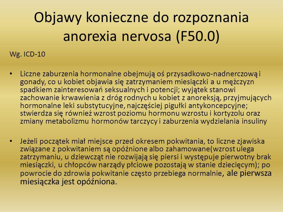 Objawy konieczne do rozpoznania anorexia nervosa (F50.0) Wg. ICD-10 Liczne zaburzenia hormonalne obejmują oś przysadkowo-nadnerczową i gonady, co u ko