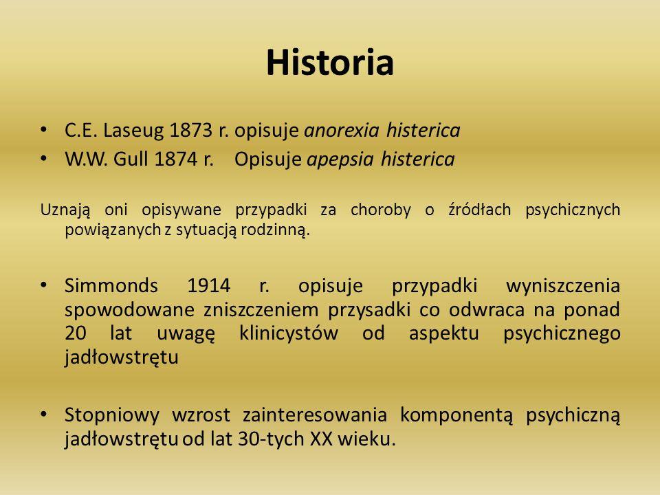 Historia C.E. Laseug 1873 r. opisuje anorexia histerica W.W. Gull 1874 r. Opisuje apepsia histerica Uznają oni opisywane przypadki za choroby o źródła