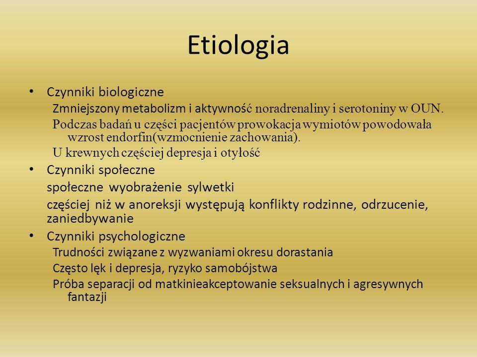 Etiologia Czynniki biologiczne Zmniejszony metabolizm i aktywnoś ć noradrenaliny i serotoniny w OUN. Podczas badań u części pacjentów prowokacja wymio