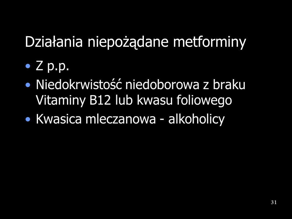 31 Działania niepożądane metforminy Z p.p. Niedokrwistość niedoborowa z braku Vitaminy B12 lub kwasu foliowego Kwasica mleczanowa - alkoholicy