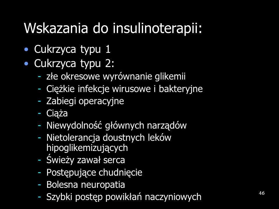 46 Wskazania do insulinoterapii: Cukrzyca typu 1 Cukrzyca typu 2: -złe okresowe wyrównanie glikemii -Ciężkie infekcje wirusowe i bakteryjne -Zabiegi o